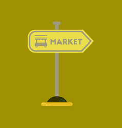 Flat icon on background sign of market vector