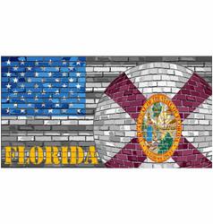Florida flag on the grey usa flag background vector