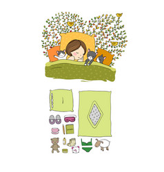 Girl and cats sleep in bed good night sweet vector