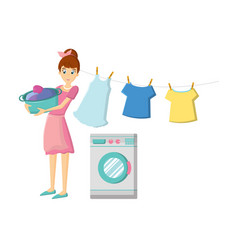 Girl engaged in washing clothes cleaning vector