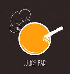 Glass of juice and chef hat vector