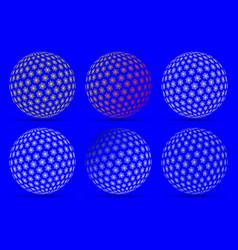 globe set snowflake vector image