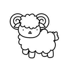 Goat farm animal cartoon background thick line vector