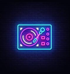Gramophone neon signboard retro music neon vector