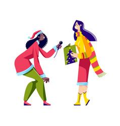 Happy people caroling cute girls wearing santa vector