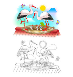 Happy stork family with mother father and babies vector