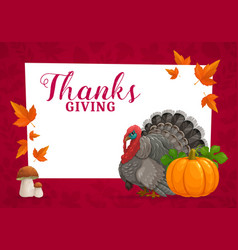 Happy thanks giving frame with turkey vector