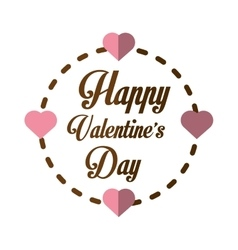 happy valentines day card greeting heart frame vector image