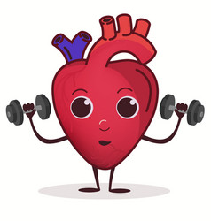 Heart character with dumbbell doing fitness vector