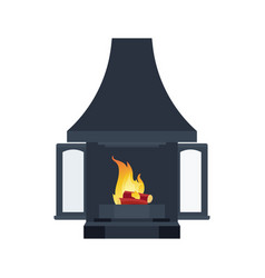 Home black fireplace to paste in interior of vector