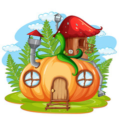 Isolated fantasy pumpkin house vector
