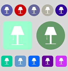 Lamp icon sign 12 colored buttons Flat design vector image