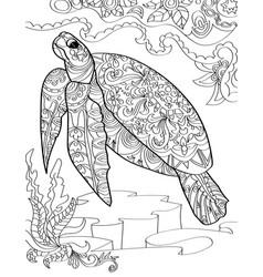 Large sea turtle below ocean swimming upward vector