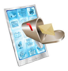 Letter mailbox flying out of phone screen concept vector