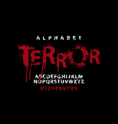 Lettering terror and set white alphabet letters vector