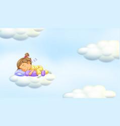 Little girl sleeping on floating cloud vector