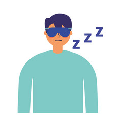 Man sleeping with mask white background vector