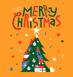 merry christmas friends pine tree together card vector image