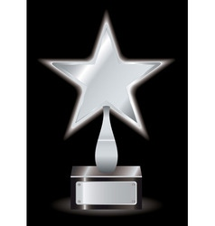 Metal silver star award with space for your own te vector