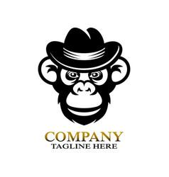 modern monkey chimpanzee logo vector image