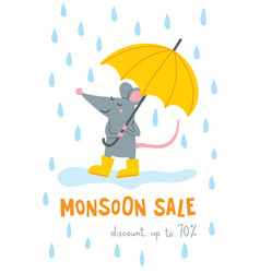 monsoon sale banner with cute rat vector image