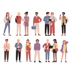 Multiracial community students concept flat vector