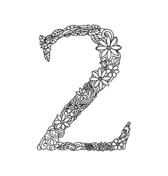 Number 2 coloring book for adults vector image
