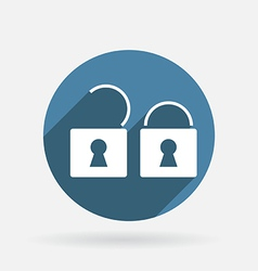 padlock Circle blue icon with shadow vector image