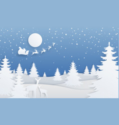 Paper cut winter landscape cartoon paper scene vector