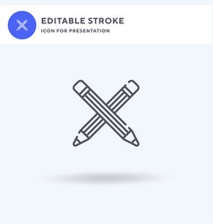 Pencil icon filled flat sign solid vector