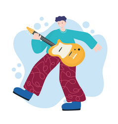 people activities young man with guitar music vector image