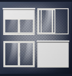 Plastic door sliding white roller shutter vector