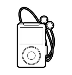 Portable music player with earphones icon image vector