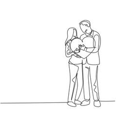 romantic marriage love concept one single line vector image