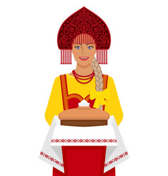russian girl in traditional suit with bread and vector image