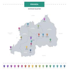 Rwanda map with location pointer marks vector