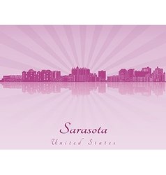 Sarasota skyline in purple radiant orchid vector image