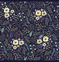 Seamless floral pattern with cute small vector
