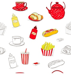 Seamless wallpaper with a lot of food vector image
