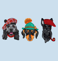 set 2 cartoon hipster dogs vector image