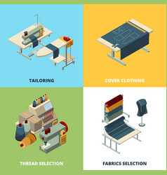 Sewing production textile manufacturing concept vector