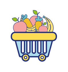 shopping basket with delicious fruits and vector image