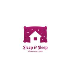 Sleep and sleep hotel motel inn logo with pillow vector