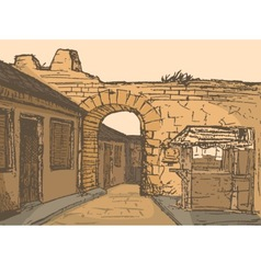 Small road with arch vector