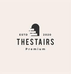 Stair arch niche hipster vintage logo icon vector