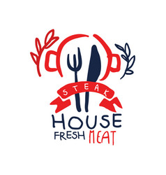 steak house logo fresh meat vintage label vector image