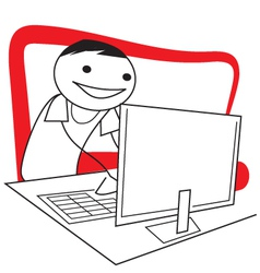Stick figure guy working at the computer vector image