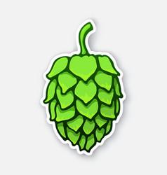 Sticker a green cone hop vector