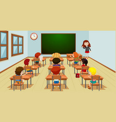 student in classroom template vector image