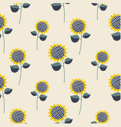 Sunflower plant cartoon seamless pattern vector